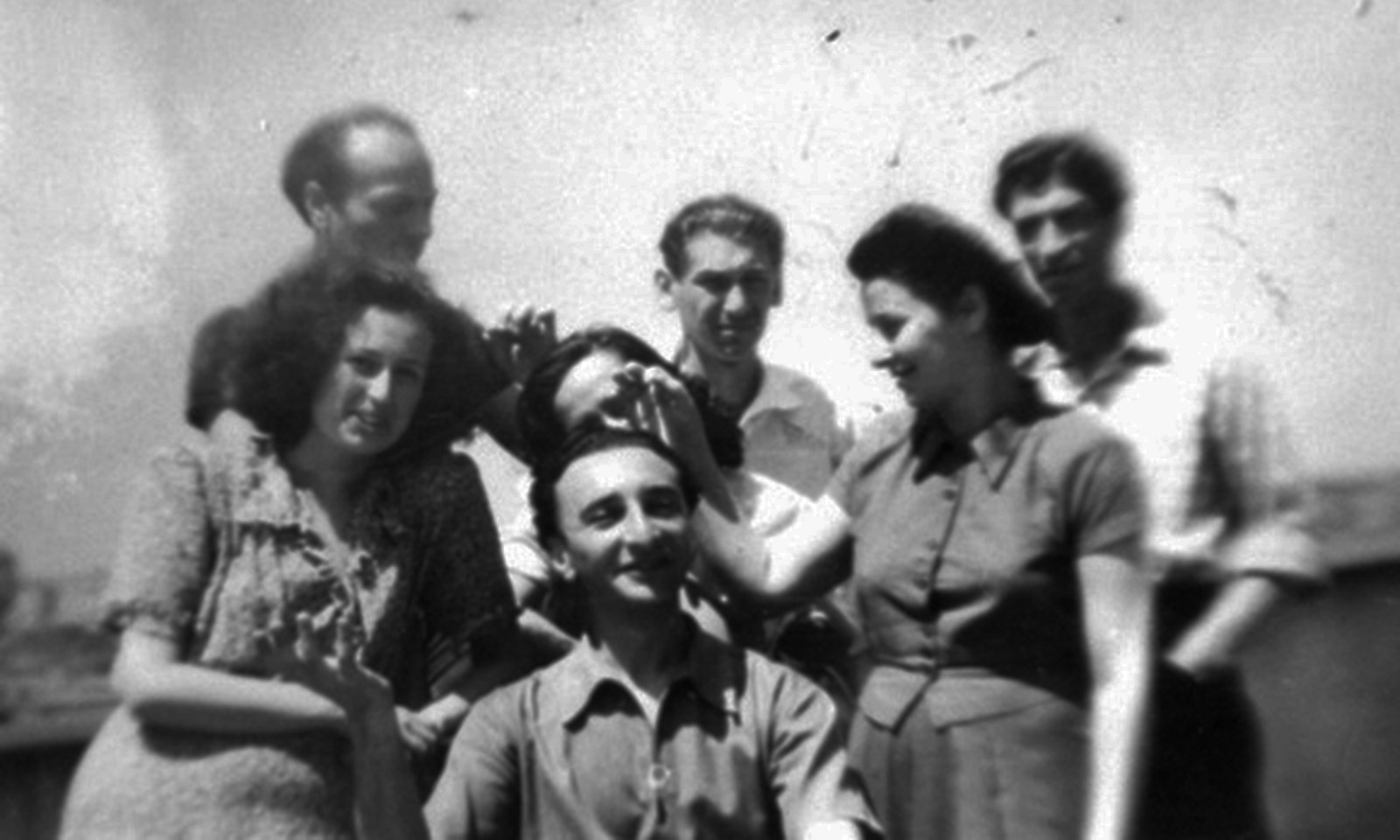 The Bucharest Surrealist Group [From left to right, in the first row: Paul Pặun; second row: Valentina Sesto-Pals, Renny Pặun, and Lyggia Naum; third row: Gherasim Luca, Dolfi Trost, and Gellu Naum] 1946-1947 , Unknown photographer, Gellu Naum Foundation , Copyright Not Evaluated