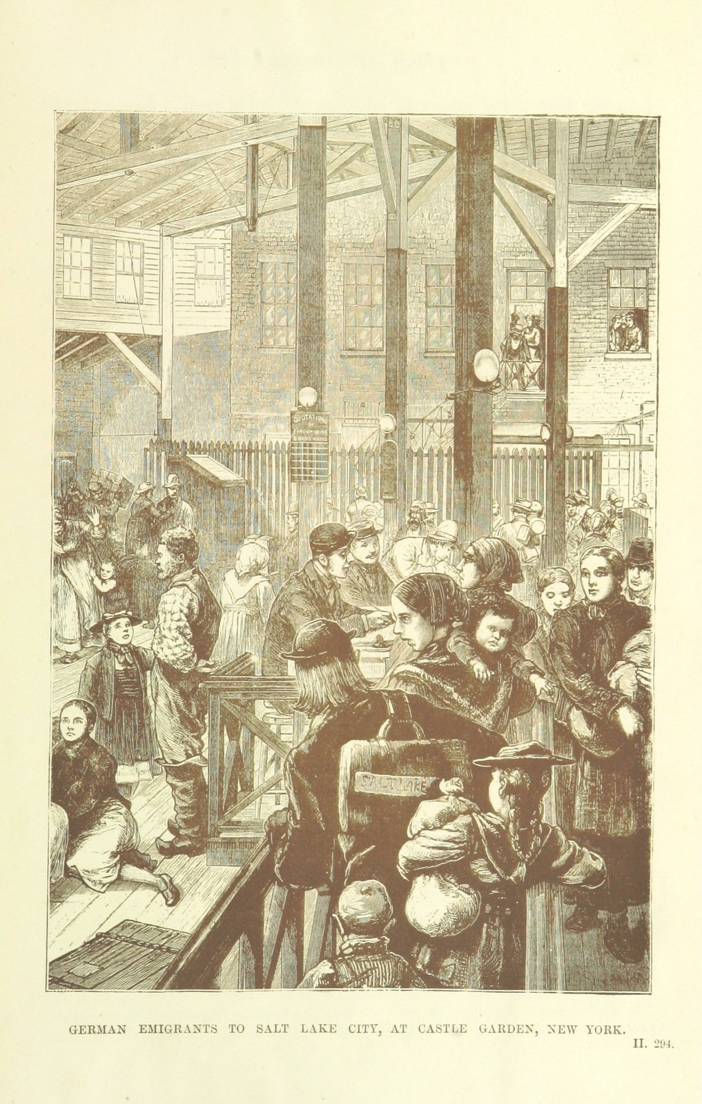 German emigrants to Salt Lake City, at Castle Garden, New York, 1882, London, The British Library , Public Domain Mark