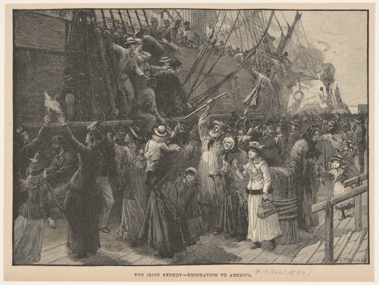 The Irish remedy -- emigration to America, 1898, NYPL, Public Domain Mark