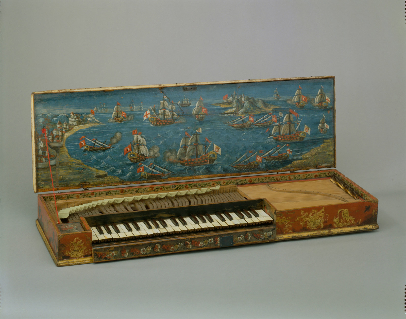 Clavicorde de Lépante, Unknown, [This sixteenth-century instrument is important both as a very early example of a clavichord and as a beautiful piece of decorative art. A clavichord is a keyboard instrument in which the strings are set into vibration by being hit by a metal blade (tangent) when a key is operated. As with the piano (but unlike the organ and harpsichord), the harder a key is hit the louder the sound produced. Even at its loudest, however, the clavichord is a quiet instrument suited to domestic use and as a practice instrument for musicians.], Cité de la musique, CC BY-NC-SA