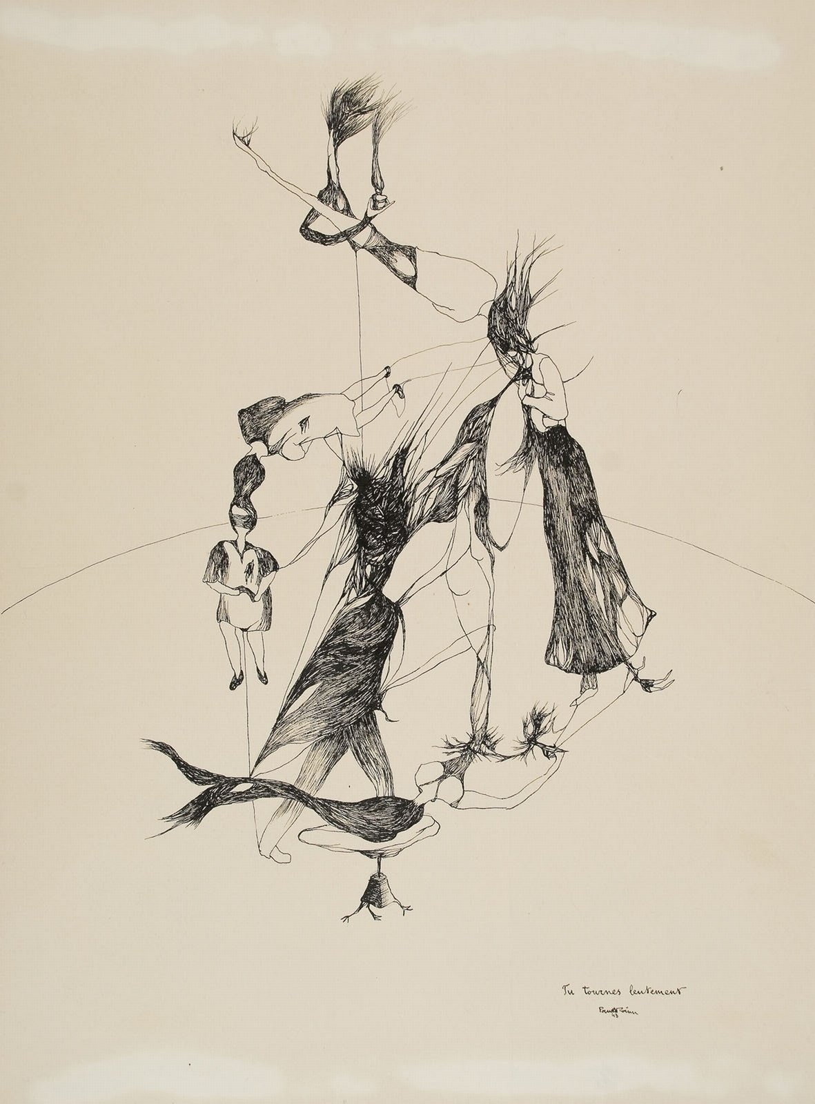 Tu tournes lentement, signed and dated: Paul Păun 4  (China ink on paper ), Paul Păun , Private collection, reproduced by permission, In Copyright
