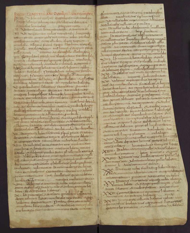 Capitulare de villis 12v-13, Fulda, 2nd quarter of the 9th century, Wolfenbüttel, Herzog August Bibliothek, Cod. Guelf. 254 Helmst Parchment, 16 ff., 308 × 125 mm, In Copyright