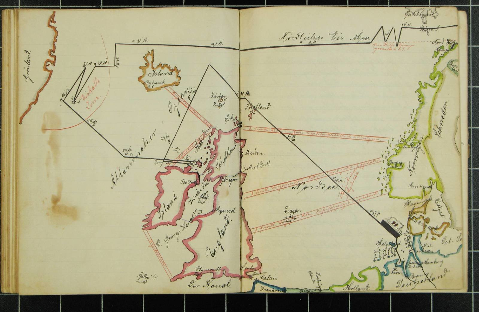 Rudolf Kämmerer Hand drawn colour map  , 1915, Europeana 1914- 1918 / Bernd Rossberg, CC BY-SA