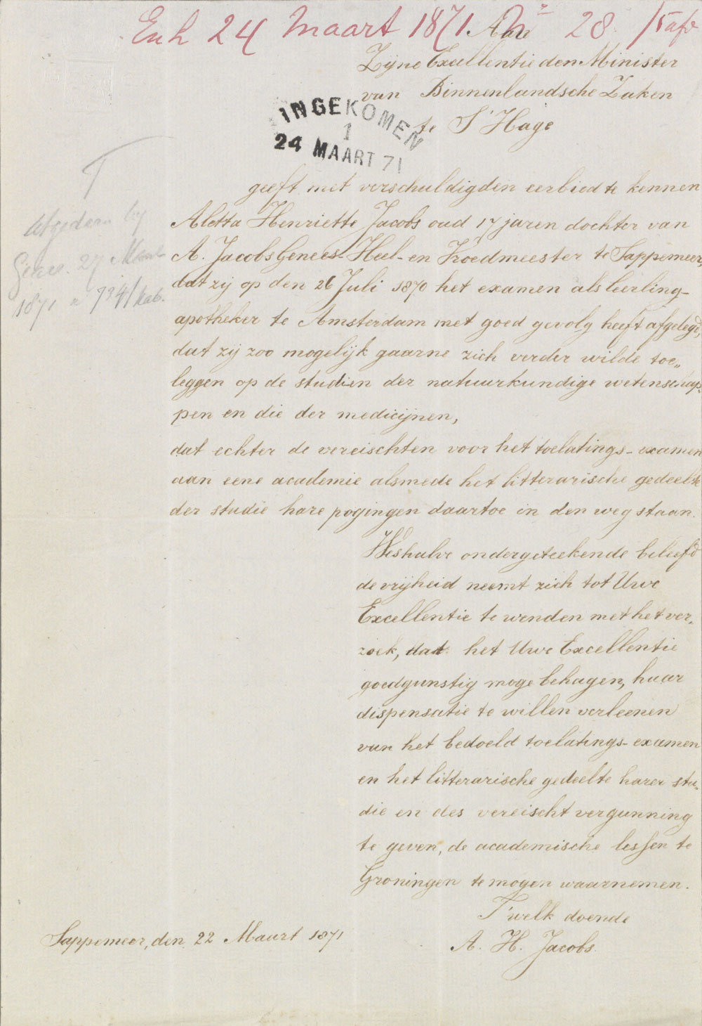 Petition from 1871 to be admitted to Groningen University, Collection Ministry of Internal Affairs, National Archives, Netherlands, Public Domain Mark