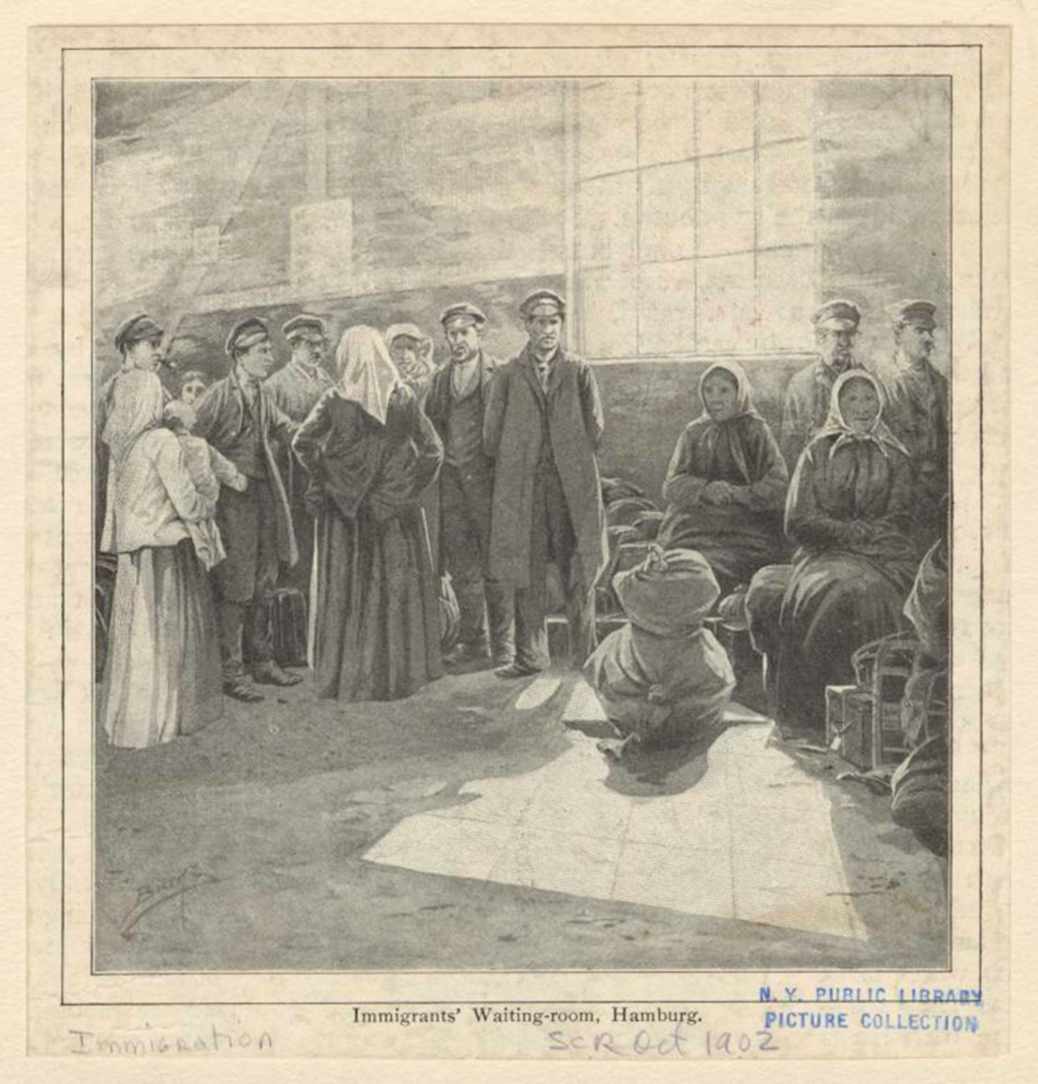 Immigrants' waiting-room, Hamburg, Burns, M. J., NYPL Digital Gallery, Public Domain Mark
