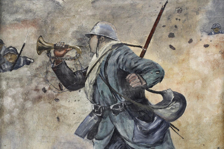 Le soldat Cellier sonnant l'armistice au clairon [detail], Omer Preux, Europeana 1914-1918 / Chantal Pichon, CC BY-SA