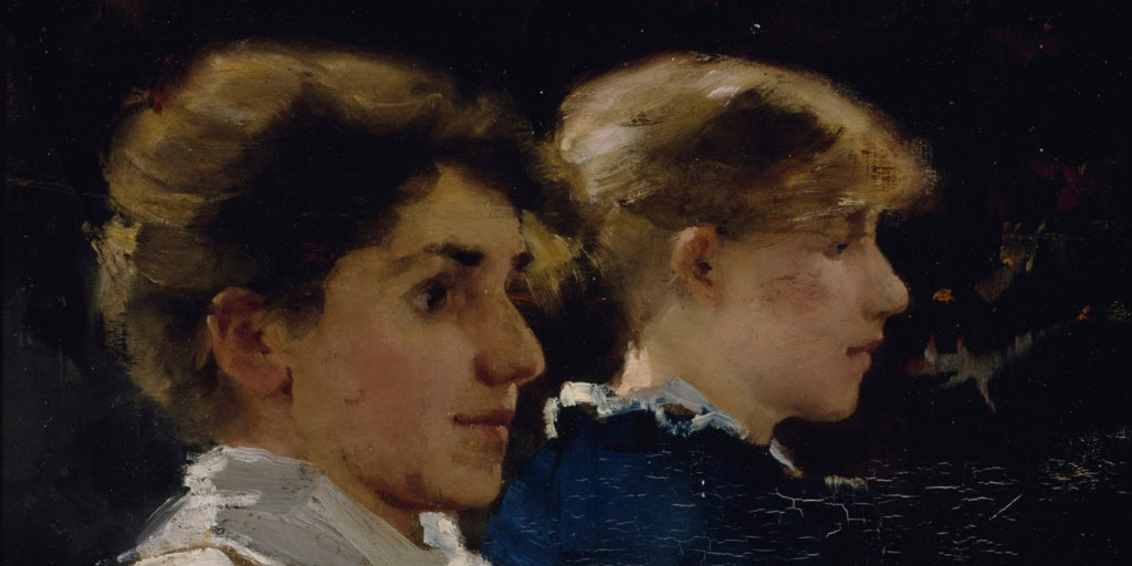Two female profiles (in the foreground Marianne Preindelsberger), 1881 , Helene Schjerfbeck, Finnish National Gallery, CC0