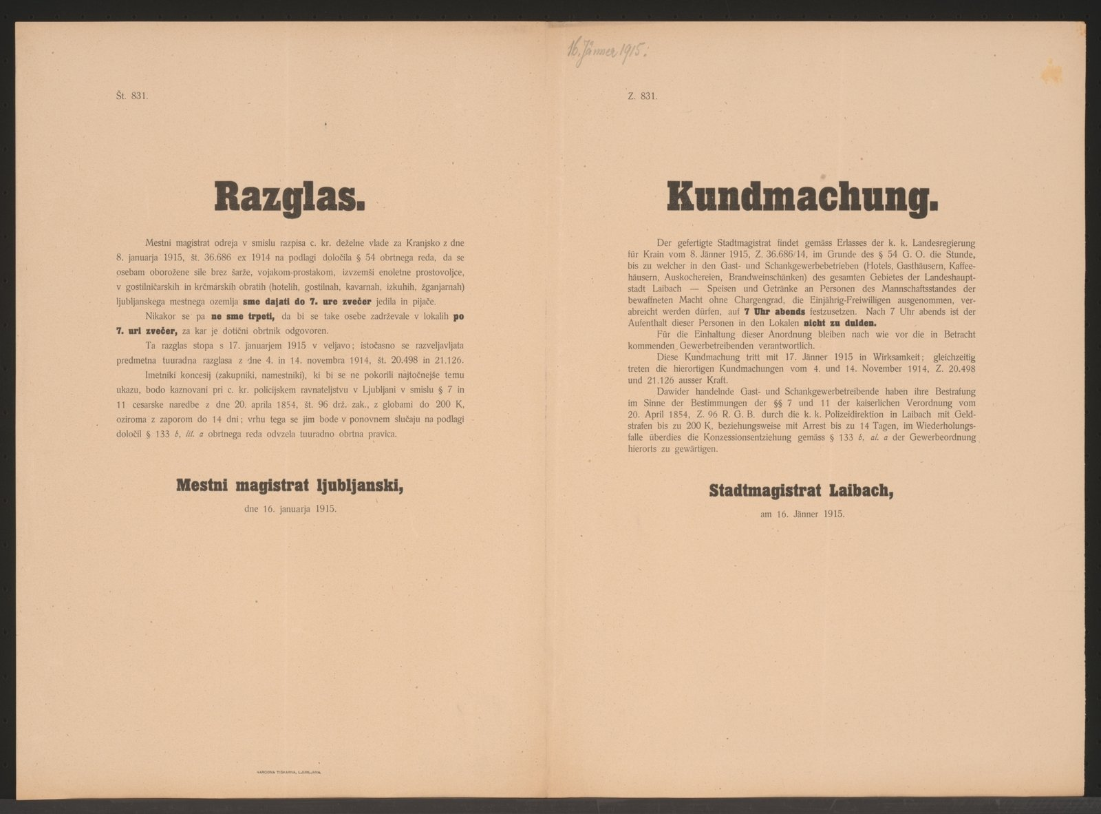 Regulation of hosting soldiers behind the lines, 1915-01-16 Ljubljana, Österreichische Nationalbibliothek - Austrian National Library, Public Domain Mark