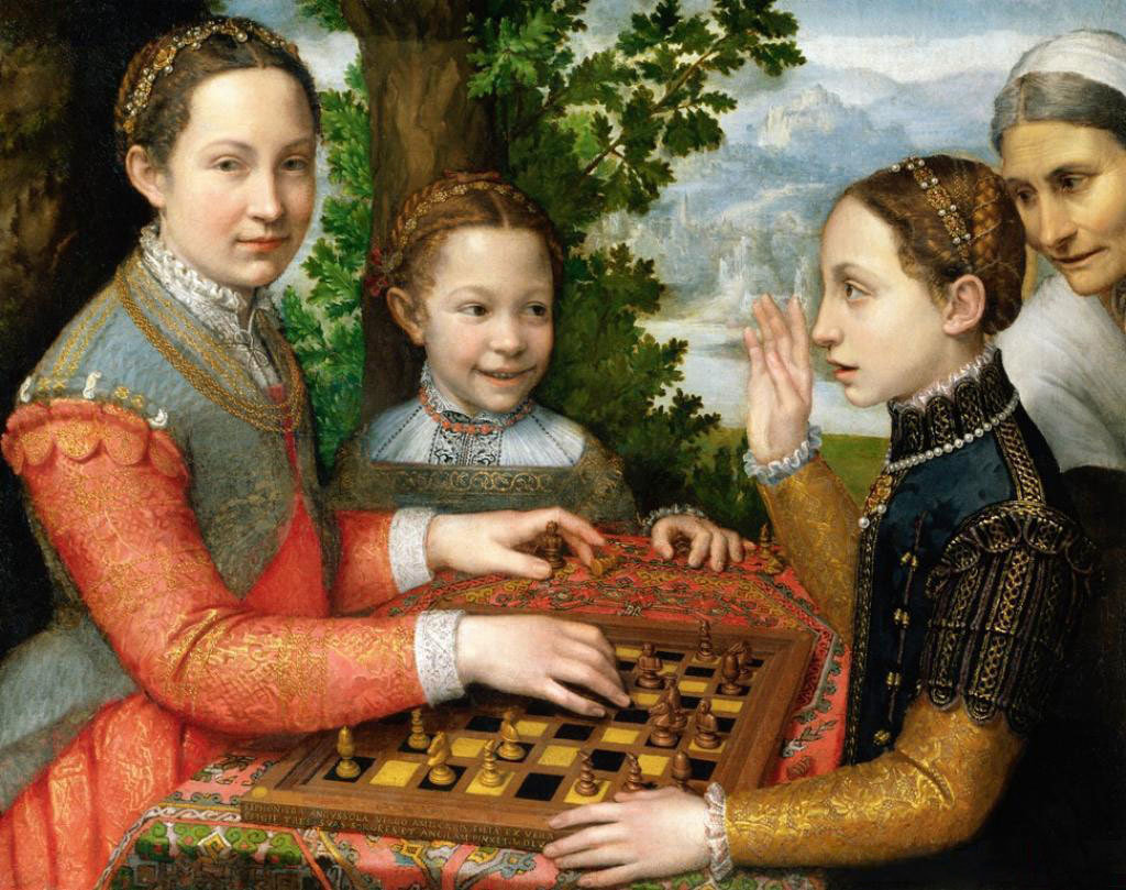 The Chess Game (Portrait of the artist's sisters playing chess), 1555, Sofonisba Anguissola, Wikimedia Commons after National Museum Poznań, Public Domain Mark