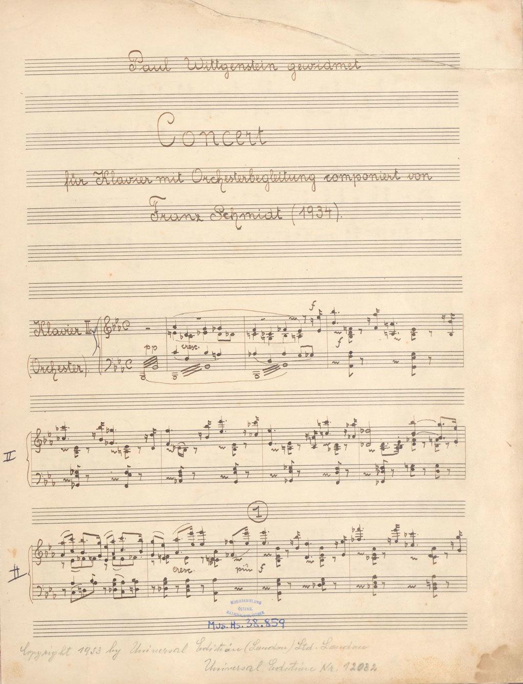 Concert für Klavier mit Orchesterbegleitung [Concert for piano with orchestral accompaniment], Franz Schmidt, Österreichische Nationalbibliothek - Austrian National Library, Public Domain Mark