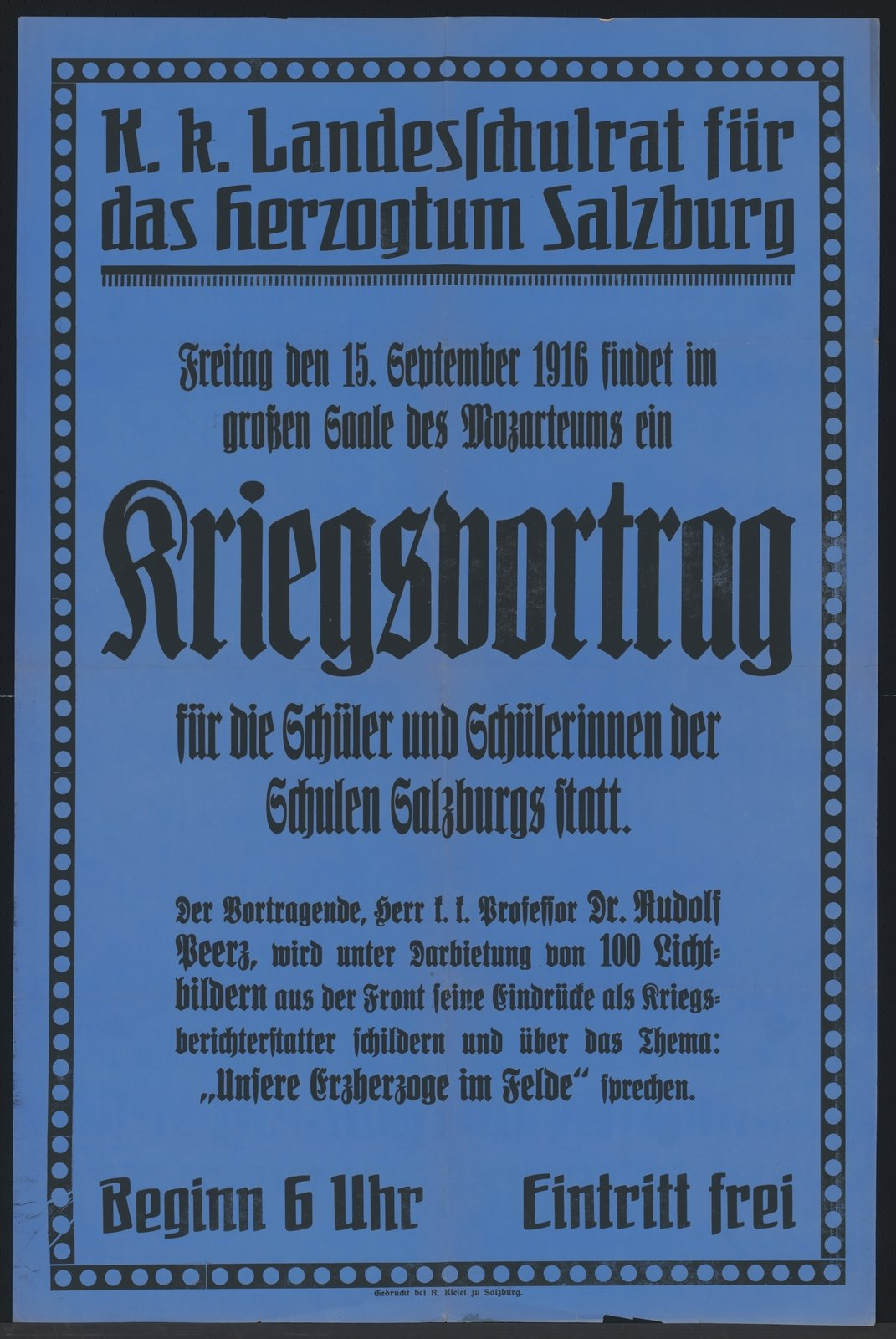 Lectures about the war were also held at schools., 1916-09 Salzburg, Österreichische Nationalbibliothek - Austrian National Library, Public Domain Mark