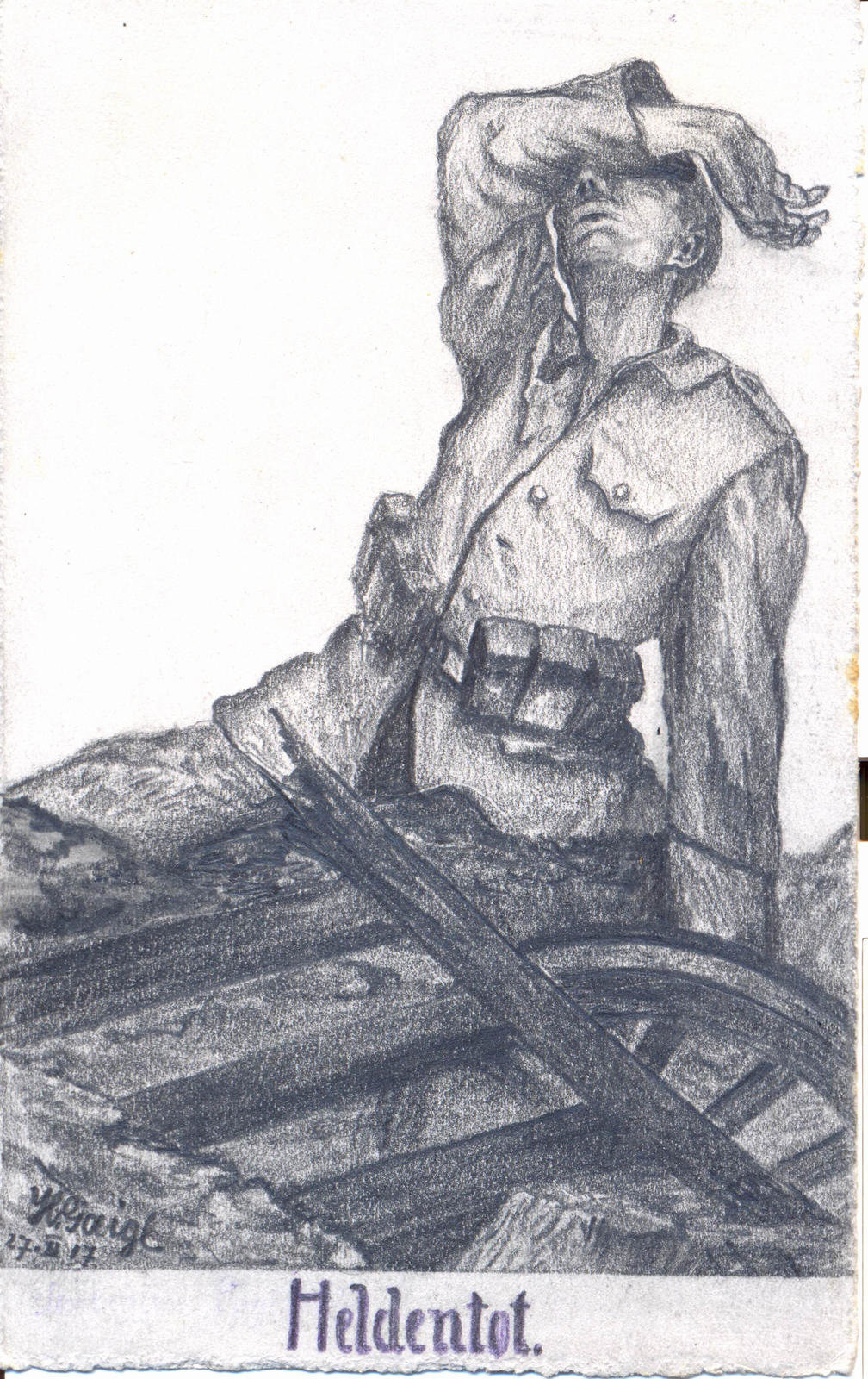 Postcard 'The Heroes death', pencil sketch by Hans Gaigl, 27 November 1917, Mörchingen , Europeana 1914-1918 / Günter Gaigl, CC BY-SA