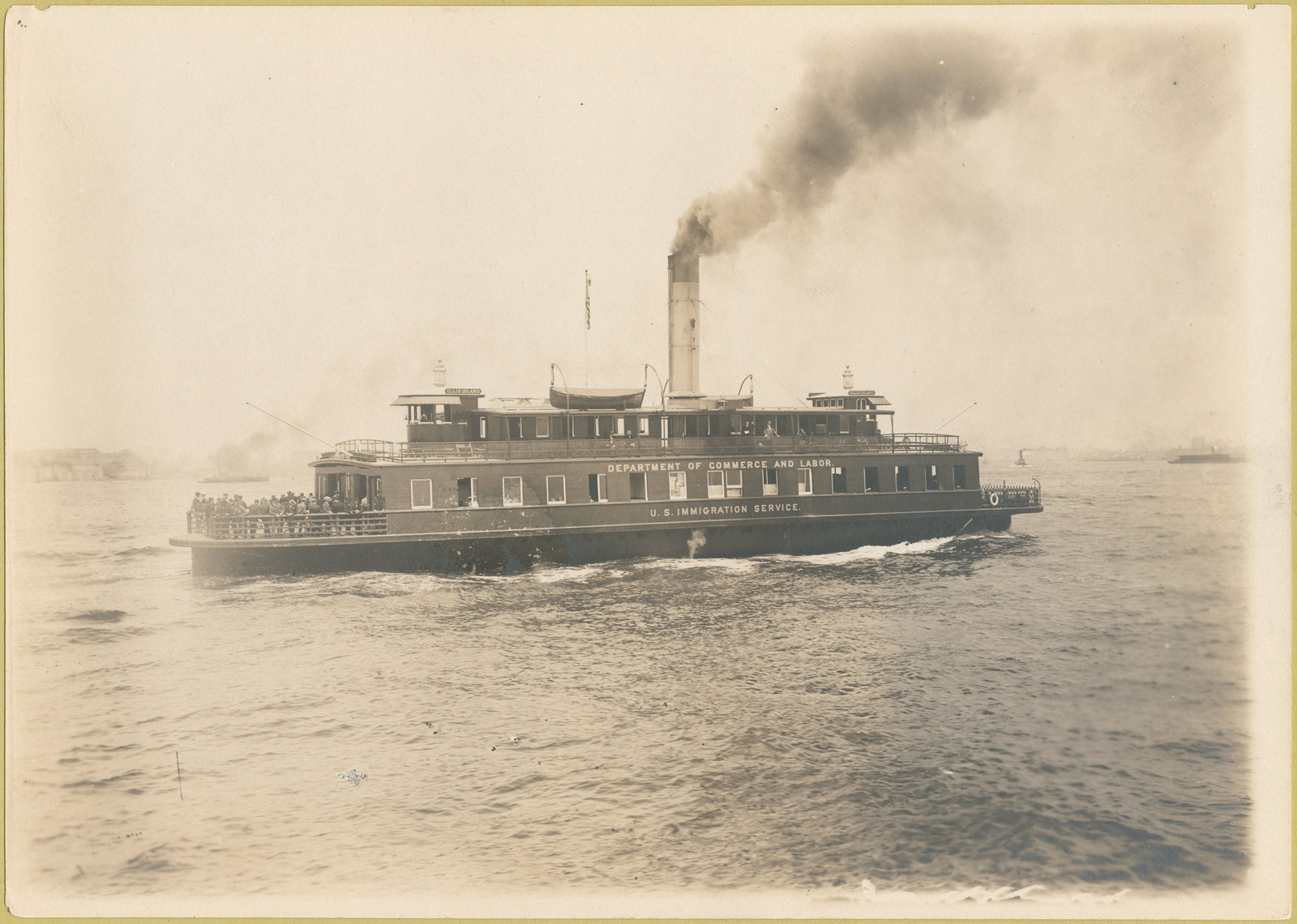 Ferry boat, Ferry boat, the Ellis Island, which is also marked Department of Commerce and Labor, U.S. Immigration Service. 1902 - 1913, NYPL Digital Gallery A calendar of the William Williams collection of photographs of Ellis Island., Public Domain Mark