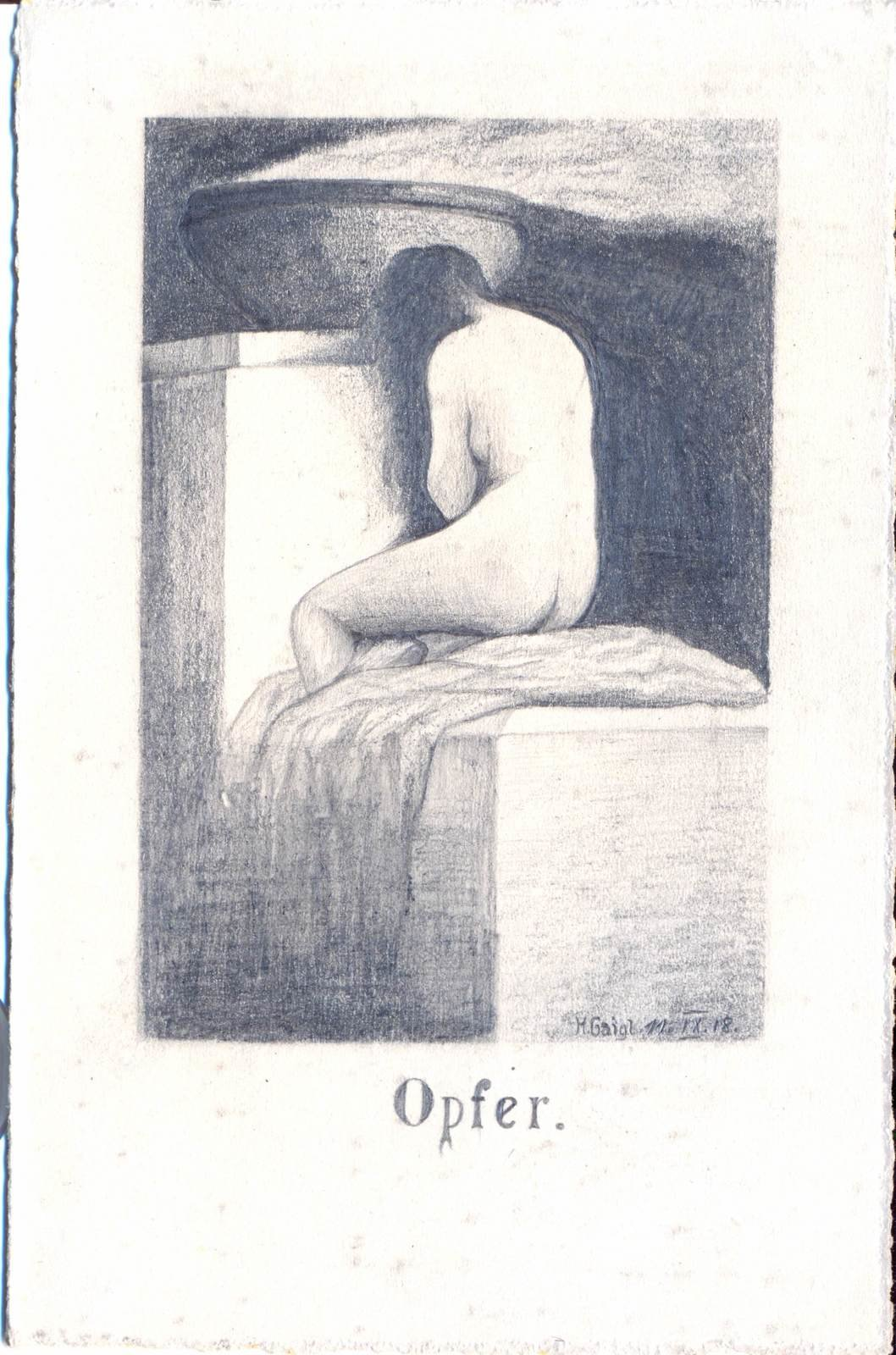 "Postcard ""Opfer"" (Sacrifice) pensil sketch by Hans Gaigl, 11 September 1918, Mörchingen , Europeana 1914-1918 / Günter Gaigl, CC BY-SA"