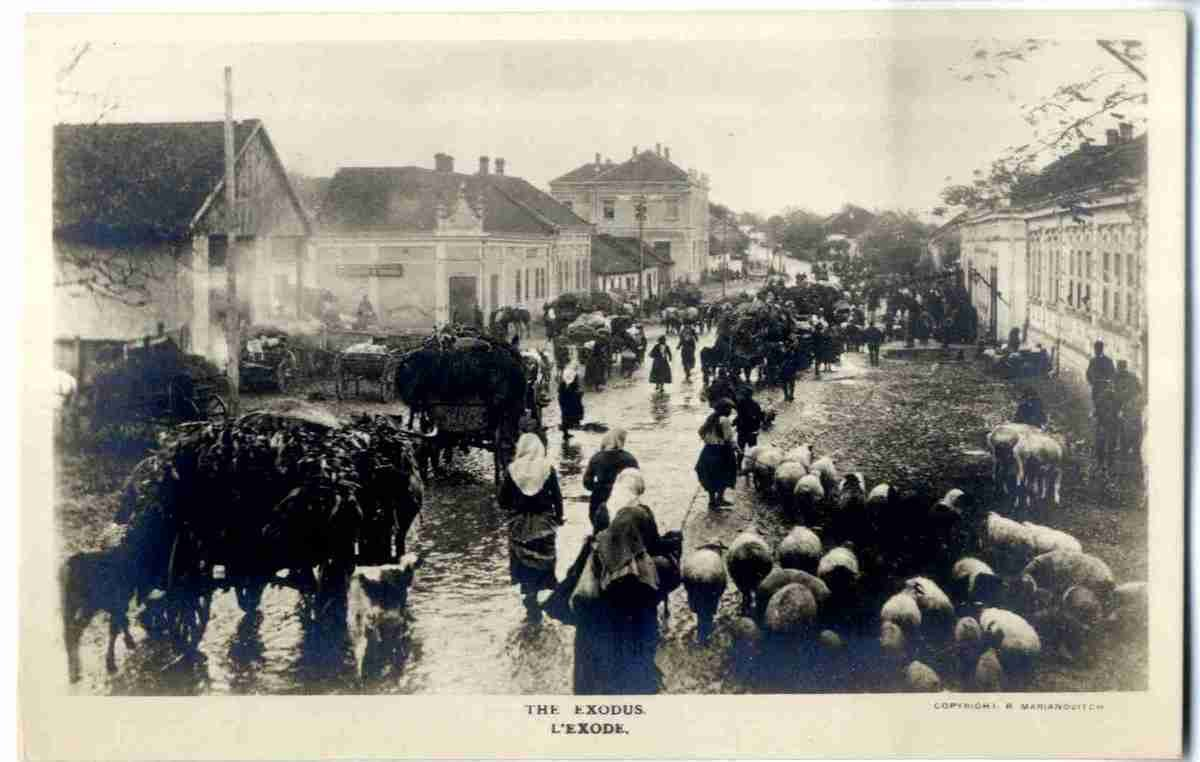 Serbian civilians fleeing, Marjanović, Rista, 1885-1969, Narodna biblioteka Srbije - National Library of Serbia (NLS), In Copyright