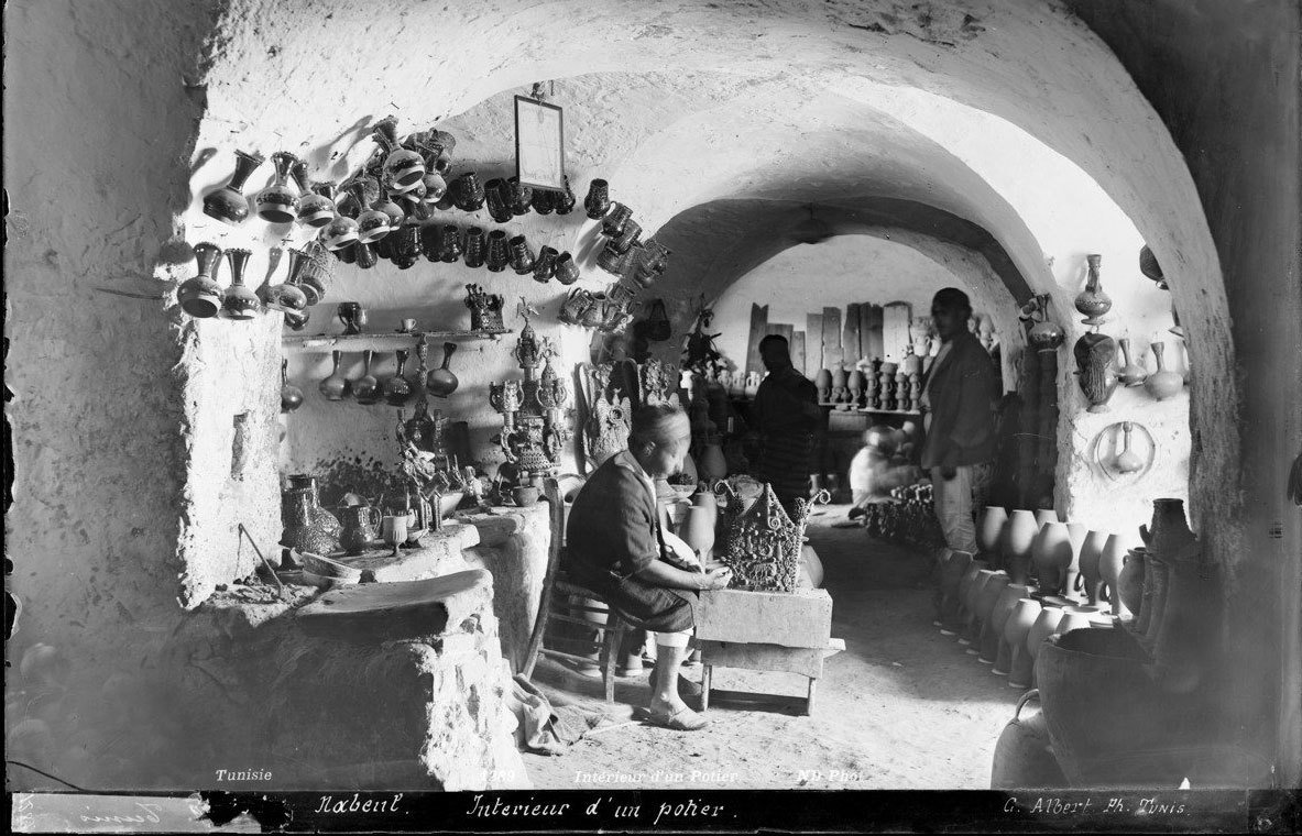 Interior of a potter's shop in Nabeul (Tunisia), circa 1900, Neurdein Frères/Roger-Viollet, Parisienne de Photographie, In Copyright