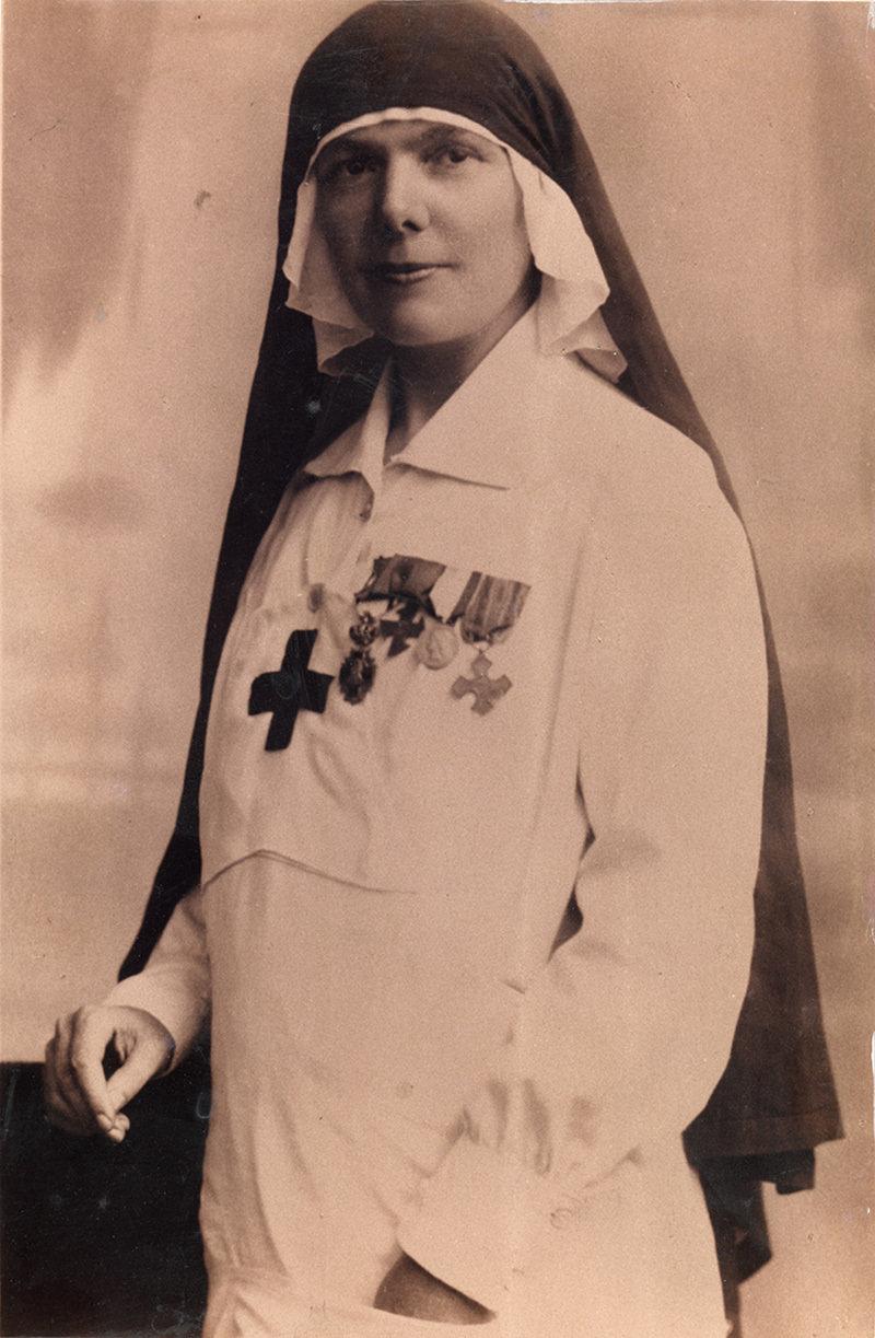 "Eng. Elisa Leonida Zamfirescu, volunteer nurse during World War I (1917), Unknown photographer, National Technical Museum ""prof.ing. Dimitrie Leonida"", Bucharest, CC0"