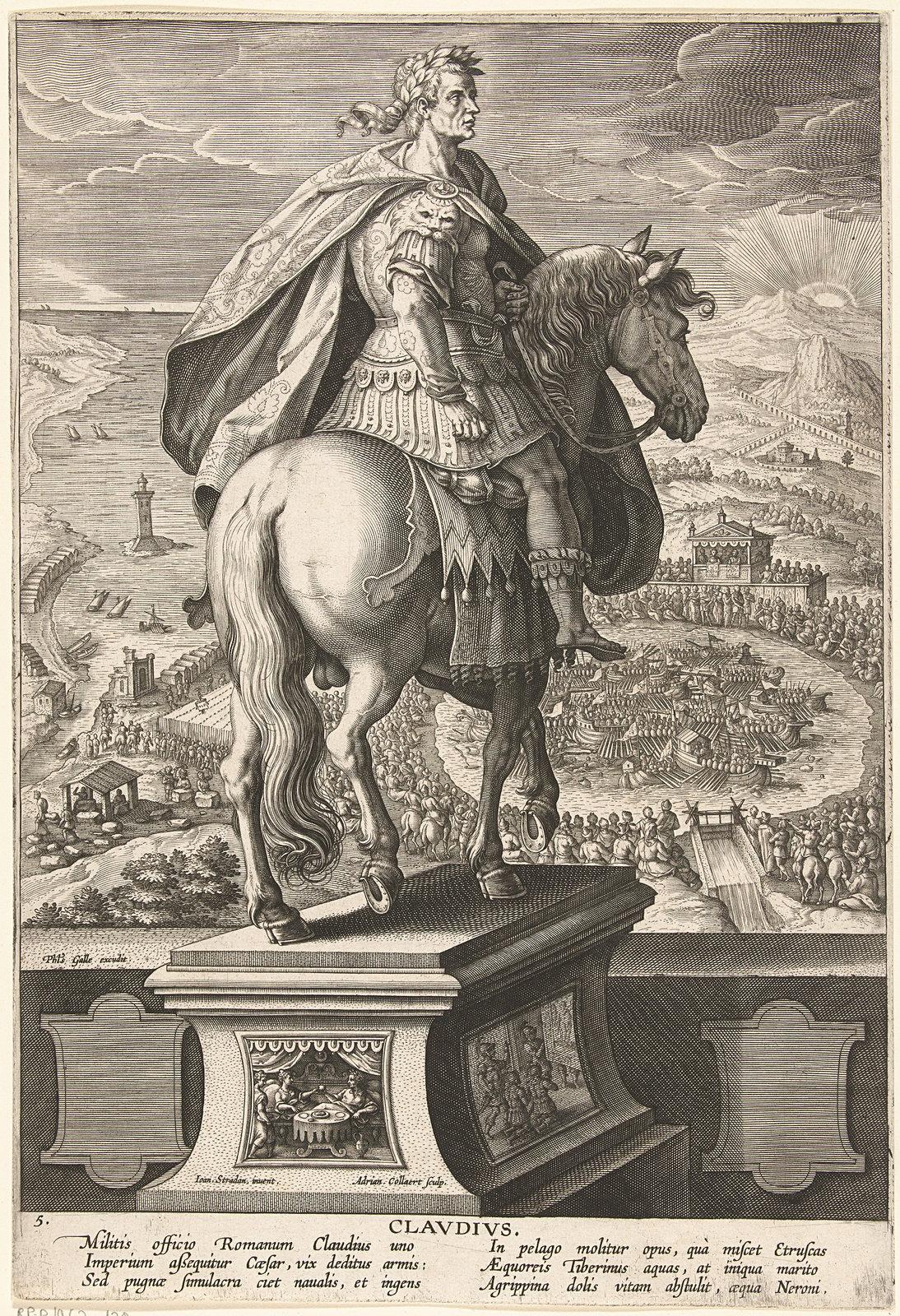 Keizer Claudius te paard, 1587 - 1589 vermeld op object prentmaker: Collaert, Adriaen | vermeld op object uitgever: Galle, Philips, Rijksmuseum , Public Domain Mark