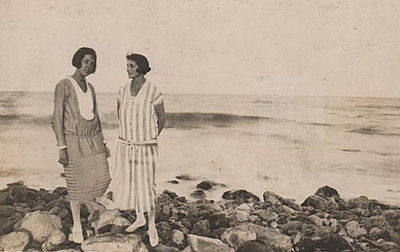 Miss Savva and Dora Gabe (on the right). Black Sea Coast, 1926, Unknown photographer, National Literary Museum, Public Domain Mark