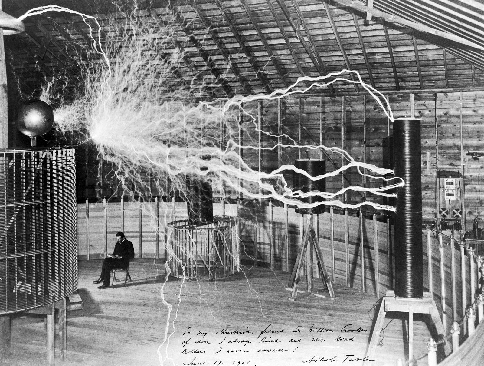 Nikola Tesla with his equipment for producing high-frequency alternating currents, 1901 , Unknown, Wellcome Collection, CC BY