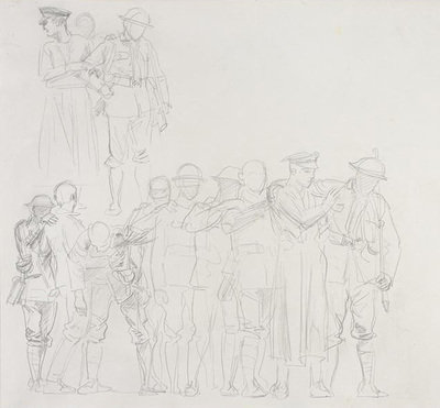 Study for 'Gassed': Line of wounded men with medical orderly, 1918, John Singer Sargent, Imperial War Museums, CC BY-NC-ND