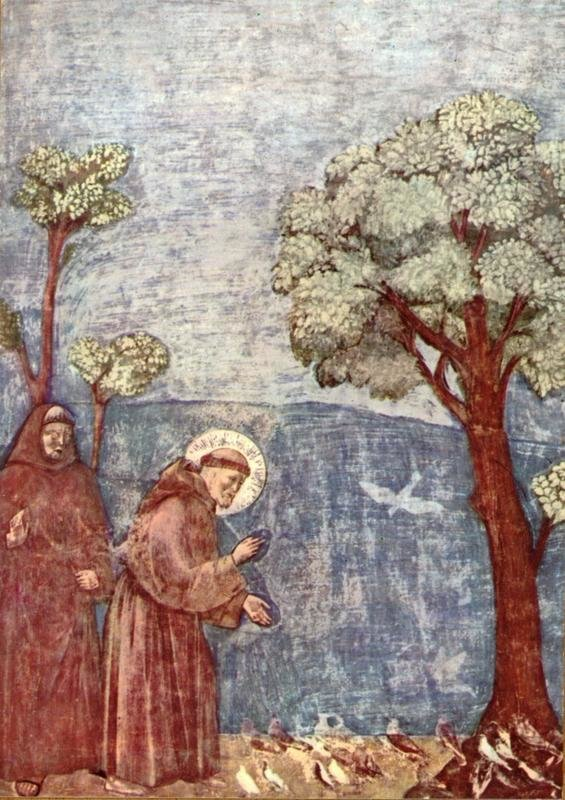 St. Francis blessing the birds, 1292-1296 (detail), Giotto, University of Bologna, CC BY-ND