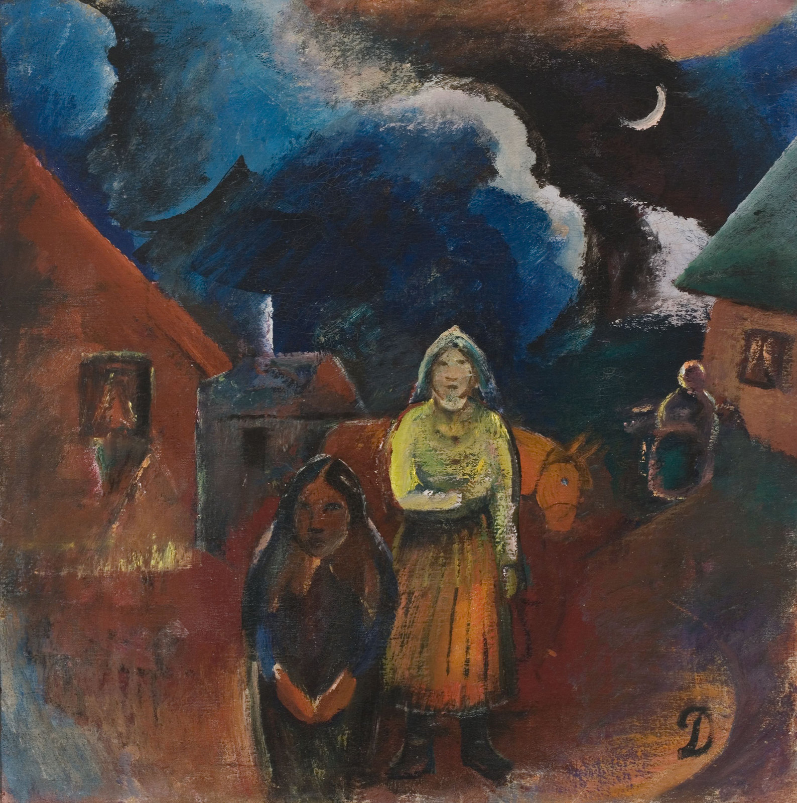 Scenery of Lithuanian Village, 1918, Pranas Domšaitis, Lithuanian Art Museum, CC BY