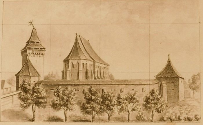 The fortified church in Dârjiu, Romania, [watercolour], ca. 1864, unknown, INP - National Heritage Institute, Bucharest, Public Domain Mark