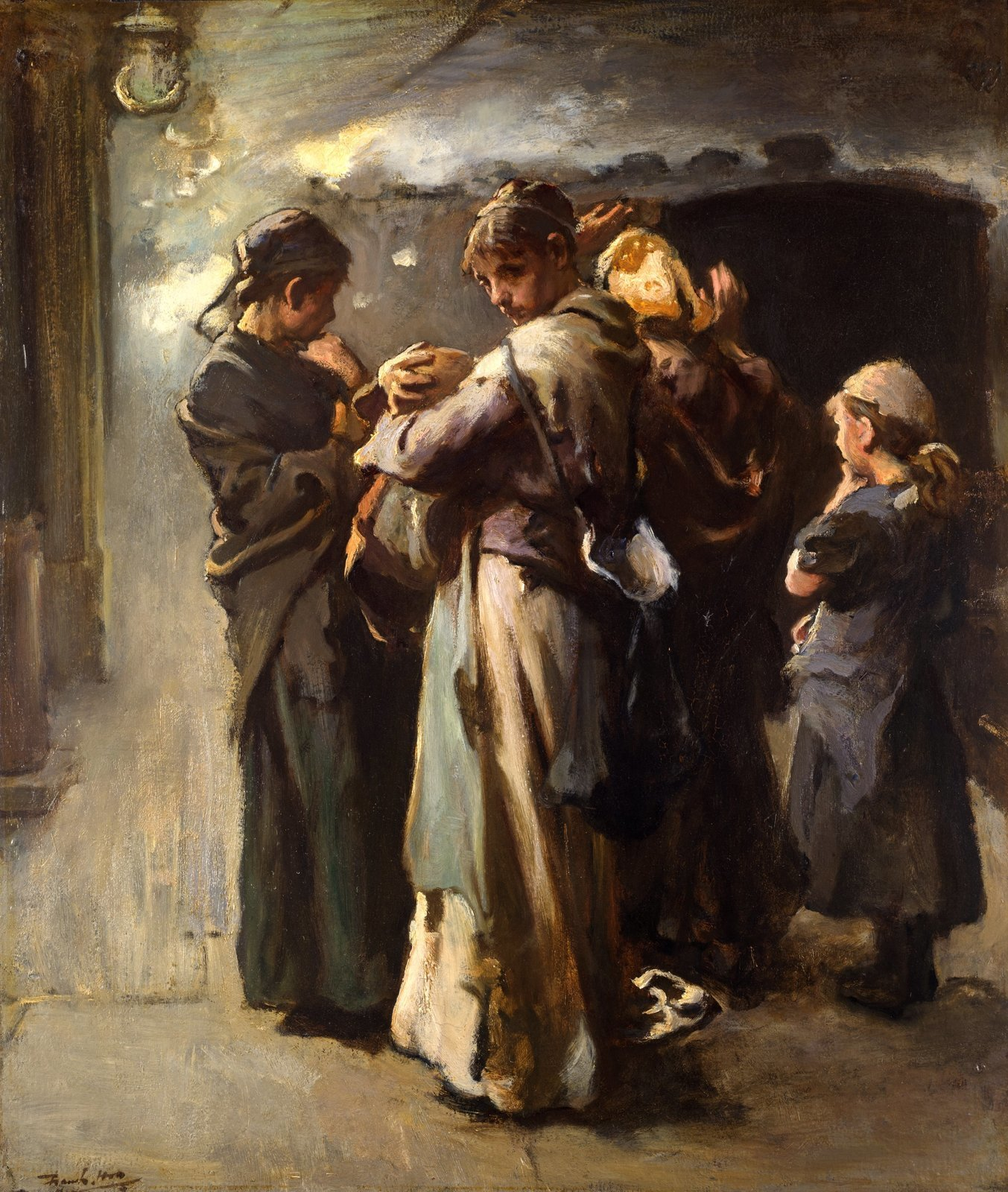 'Gone', a scene in Euston station, Frank Holl 'Gone', a scene in Euston station of a group of women and children left behind as the train taking departing emigrants leaves for Liverpool, oil on board, signed Frank Holl, c.1877, Geffrye Museum , In Copyright