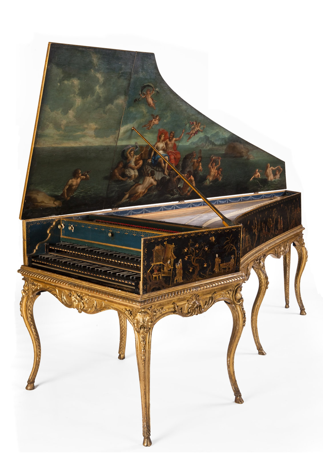 Harpsichord, 1755, Luigi Baillon, [A rare example of a French harpsichord made outside Paris. The case decoration is stunning The outer case is elaborately decorated with chinoiserie scenes, and there is a seascape in the lid depicting Venus and Neptune.], University of Edinburgh, CC BY-NC-SA